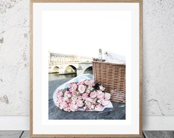 Paris, Wall Art, Photography, Digital Download, Springtime in Paris, Digital Print, Art & Collectibles, Instant, Roses, Picnic, Seine,