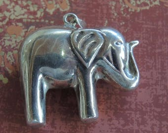 Silver Elephant Pendant, Marked 925, Adorable Elephant Trunk Up,  Good Luck Elephant