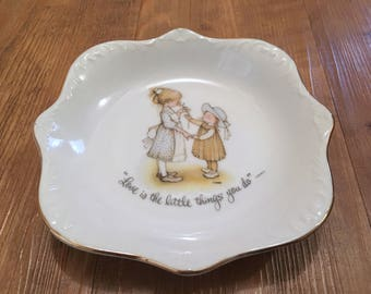 "1973 Scalloped Porcelain Holly Hobby Dish with Gold Rim, ""Love is the little things you do"""