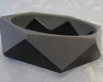 Grey and Black Octagon Bangle