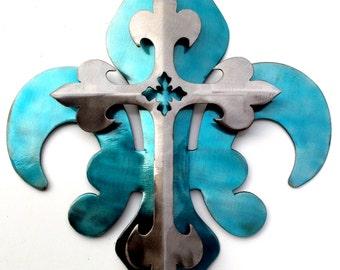 2-Part Blue & Polished Cross Fleur De Lis