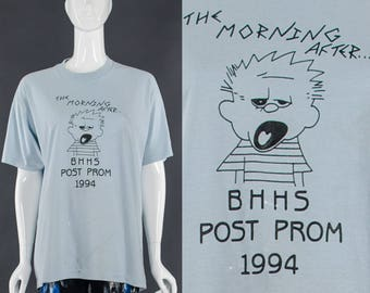Party T-Shirt Blue Vintage 90's High school Prom T-Shirt Hilarious Morning After Distressed Vintage Tee