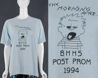 Partei T-Shirt blau Vintage 90 High School Prom T-Shirt vergnügte Morgen nach Distressed Vintage T-Shirt