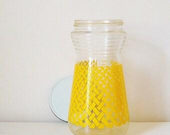 Vintage Jar, Yellow Glass Jar, Vintage Storage Jar