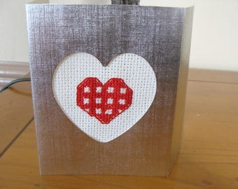 Embroidery Kit card Valentine red heart