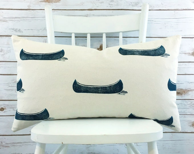 "Navy blue canoe cushion cover lumbar 14""x24"" organic cotton handprinted cottage decor lakehouse decor throw pillow porch pillow cabin gift"
