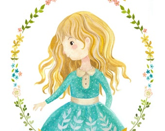 "Custom Name Blonde Girl Print 8""x10"" - Personalized Little Blonde Girl Illustration Print"