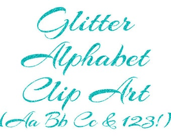 Turquoise Alphabet Clipart, Aqua Glitter Letters, Numbers Clipart, Cursive Alphabet, Scrapbook Elements, Instant Download - DIMAGE0035