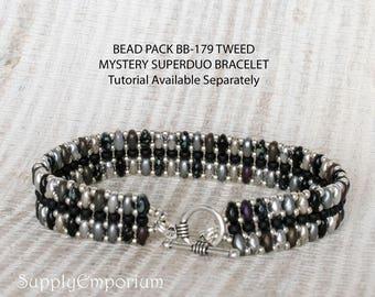 Bead Pack BB-179 Tweed Mystery Superduo Bracelet, Tutorial Available Separately, BB179 Tweed Mystery Superduo Bead Pack