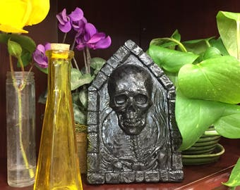 Skull and Full Moon Black Resin Bas Relief Sculpture Plaque