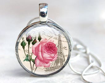 Rose Necklace - Rose Flower Necklace - Pink Rose Necklace - Botanical jewelry - Flower Necklace - Gift for Her - Pink Rose