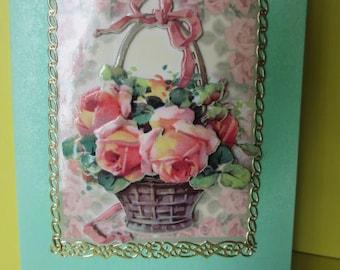 Basket of roses 3D card