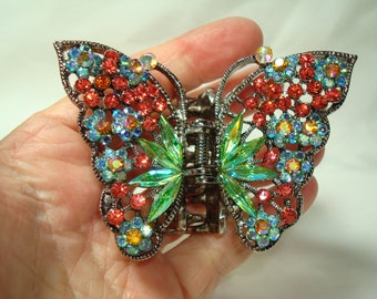 Large Jeweled Colorful Butterfly Hair Clamp Open Claw Hair clamp.