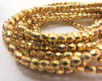 Czech Glass Fire Polished 22k gold electroplate 3mm or 4mm jewelry beads - 1 strand of 50