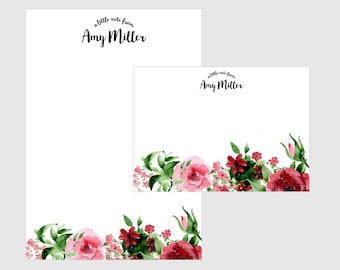 Personalized letter writing set, stationery set, writing paper, letter stationery set, floral writing paper