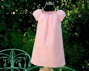 Sample SaleHandmade Lovely lined  pink eyelet girls dress  Size 3 Ready to ship