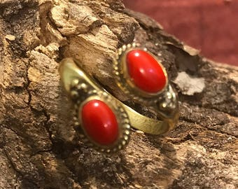 Red Coral Gemstone Ring, Brass Ring, Adjustable Boho Ring, Tribal Jewelry, Gypsy Rings, Crystal Stone Ring, Statement Ring, Spiritual Rings