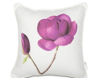 Magnolia botanical art fine linen cushion