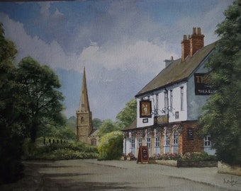 Original Watercolour Painting of The Fox Inn at Chaddesley Corbett Worcestershire English Village Scene