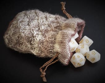 "Hand Knitted Drawstring Dice Bag Coin Pouch with Matching Dice - ""Oath of Devotion"""