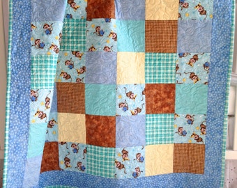 Baby Boy Quilt featuring Cute Monkeys Cotton Flannel Baby Toddler Quilting Blue Green Aqua Brown Gingham