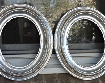 Antique Victorian RARE SILVER LEAF Gilded Pair Oval Picture frames 8 x 10 c1880s