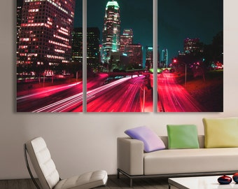 Downtown LA, Los Angeles City skyline Canvas Print. 3 Panel Split, Triptych. Pink-red freeway for home or office wall decor, interior design