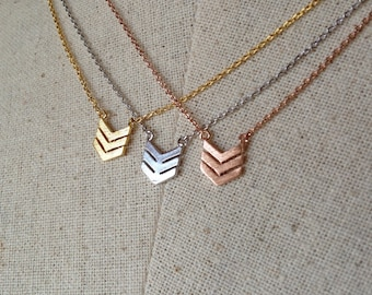 Triple Chevron Necklace, 14k Gold plated/Rose Gold/Silver, Dainty Necklace