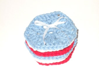 Patriotic Hexagon Crocheted Face Scrubbies-Set Of Six