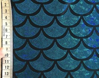 Mermaid foil print lycra spandex (Colour: Teal/Blue foil/BLACK base cloth)