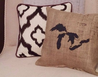 "Black Great Lakes 14.5"" x 14.5"" Stuffed Burlap pillow - jute - Michigan decor - cushion - cottage - up north - repurposed - housewarming"