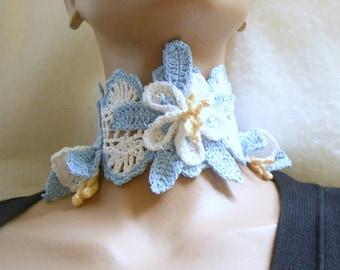 crochet DIY pattern romatic columbine choker or v-neck collar design, crochet choker victorian collar pattern, gothic choker instructions