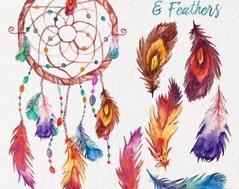 Plumes aquarelle & Dreamcatcher Clipart - Boho - Tribal - autocollants - paquet - plumes d'oiseaux - instantané - numérique - peint à la main