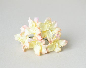 45 mm / 5  Mixed Pink and Yellow  Paper Lilies