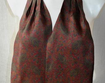 Vintage green / burgundy red paisley silk ascot tie