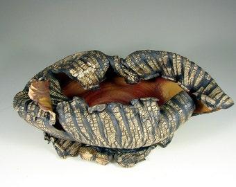 "Sculpture Art – Ceramic  Art - ""Blazing Autumn Forest Leaves"" – Handmade Centerpiece – Wheel Thrown Stoneware Art–Unique Pottery Ships Today"