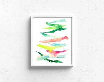Abstract Watercolor Art Print - Marching In