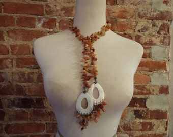 Bold Statement Carnelian Lariat w/Shell Accents