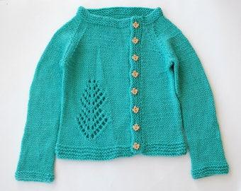 Hand Knit Cardigan, superwash wool, silk blend, child, 5T