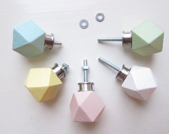 Drawer Pull, Choose Colors, Dresser Knobs, Drawer Knobs, Hexagon Knobs, Decorative Drawer Pulls, Colorful Knobs, Wooden Knobs, Wooden Knob