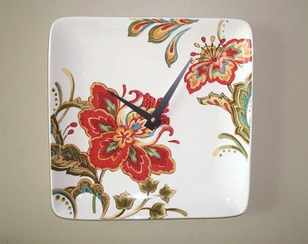 Red Floral Wall Clock, 10.5 Inch Square Ceramic Plate Clock, Unique Kitchen Clock, Dining Room Clock, Living Room Clock - 2375