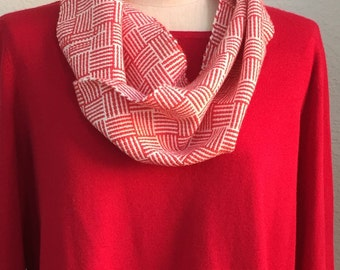 Hand Woven Mobius Cowl,  Crimson and Cream, Handmade, Lightweight, Infinity Scarf, Chic Accessory, Gift