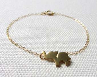 Little Elephant Bracelet Gold Animal Jewelry Cute Dainty Minimalist Baby Elephant Charm Gold Fill or Plate Chain