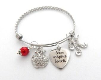 TEACH Love INSPIRE TEACHER Gift, teacher bracelet, Gifts for Teachers, Teacher Bangle,  End of year gift, Gift from student, apple charm