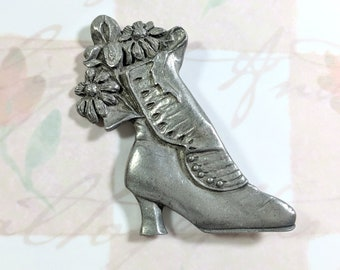 Vintage Victorian Boot Pewter Brooch Signed 1988 Seagull Pewter Canada Brooch Depicts Floral Bouquet in a Victorian Hook and Button Boot