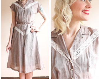 Early 1950s Dress // Brentwood Soft Cotton Dress // vintage early 50s dress