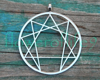 Enneagram pendant - Stainless Steel and Brass