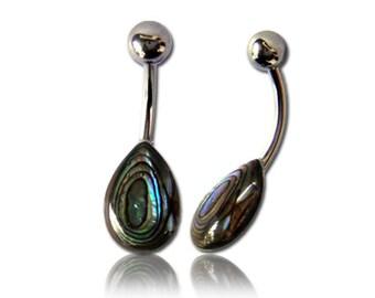 Paua abalone navel ball drop Bananenpiercing stainless steel iridescent (art-No. BNP-25)