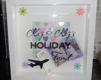 Personalised Holiday Fund Money Box Frame