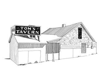 Tom's Tavern, Detroit Giclee Print 8x10